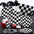 Racing Car Black &amp; White Checkered Premium Party Pack for 8 people